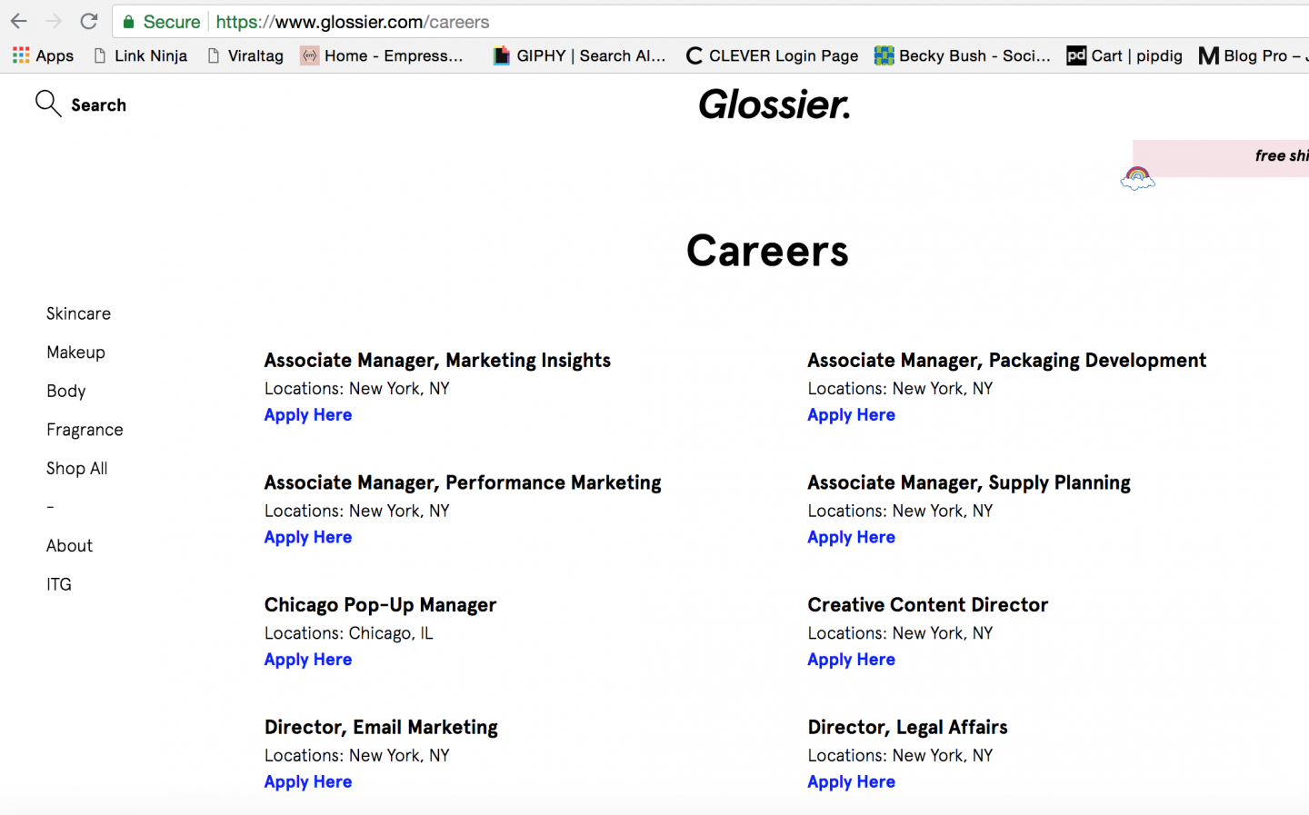 glossier careers page